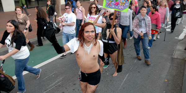 Topless at TransMarch