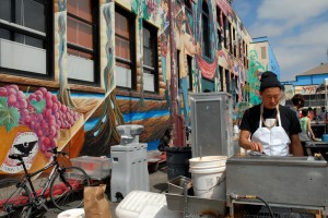Namu Chef and Co-Owner Dennis Lee cooking at 2011 SF Street Food Festival