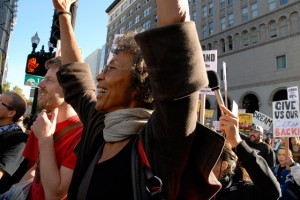 woman who was with Angela Davis at Occupy Oakland General Strike