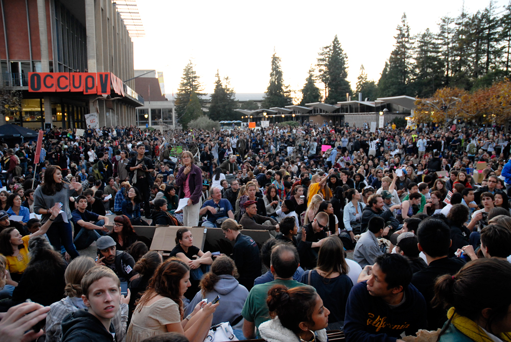 Occupy Cal Strike rally at Sproul Plaza