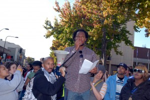 Speaker at the beginning of march at Occupy Cal Strike