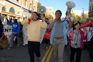 Three main leaders of the march at OccupyCal Strike