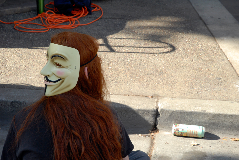 Anonymous Mask with Red Hair