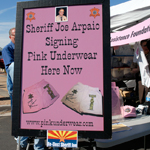Sheriff Joe Arpaio signing pink underwear in Arizona