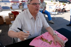 Joe Aarpaio signing pink underwear in Arizona