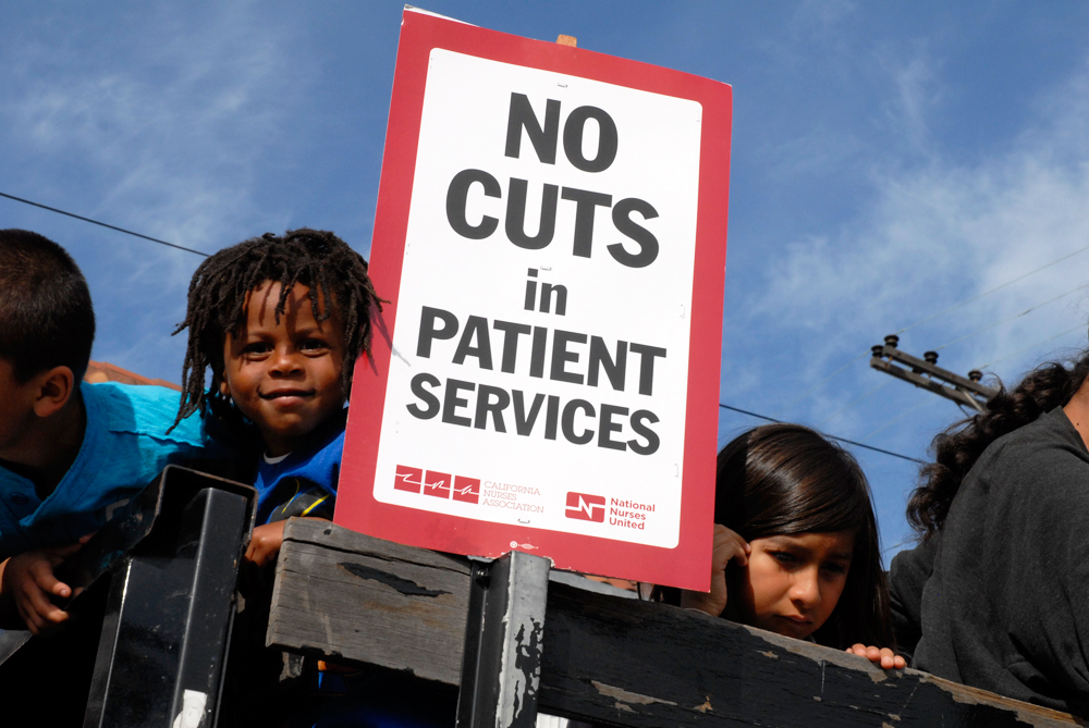May Day March in Oakland - no cuts in patient services