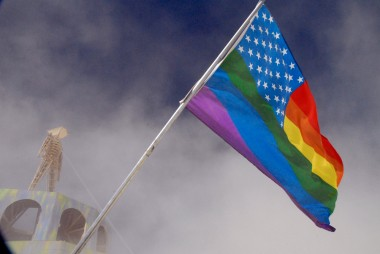 the man and gay american flag. Photo: Wendy Goodfriend