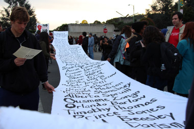 List of names of unarmed black men and women killed by police since 1999. Millions March Oakland. Photo: Wendy Goodfriend