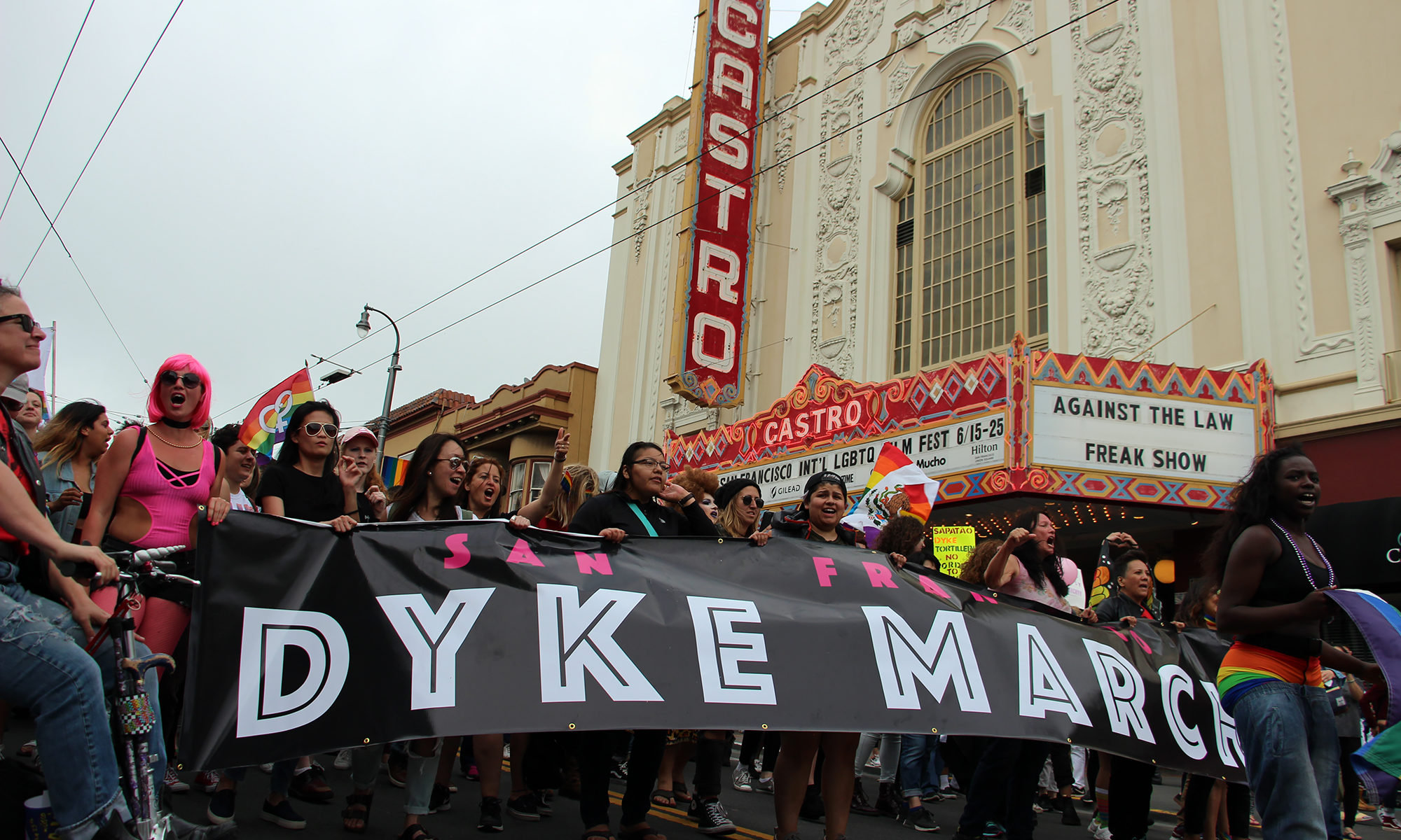 Dyke March makes its way down Castro Street